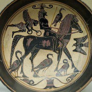 Lakonski kiliks sa predstavom jahaca okruzenim pticama dobrog predznaka i krilatim bicem (verovatno Nika)